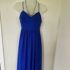 Belle Badgley Mischka Blue Chiffon Maxi Dress NWOT